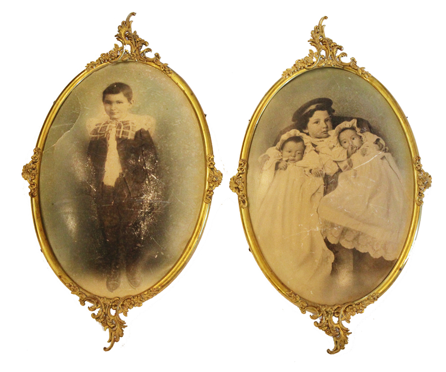 Pair Ornate Metal Oval Frames Early 1900s