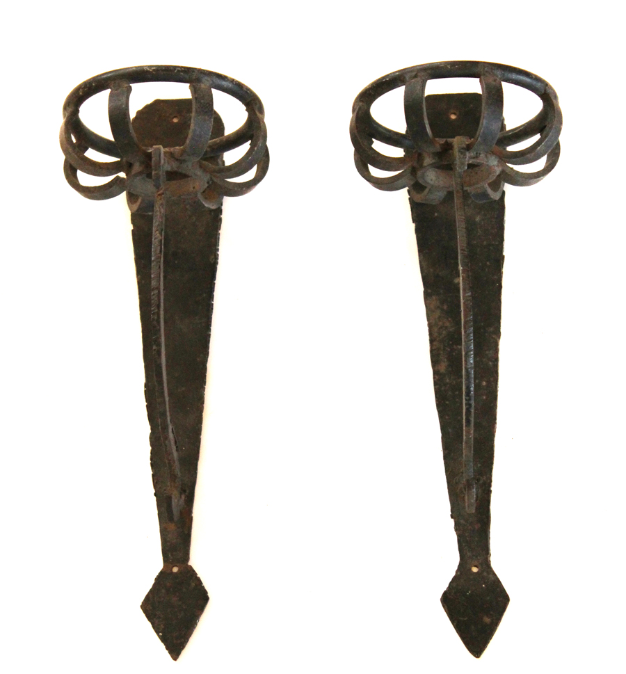 Pair Wrought Iron French Candle Wall Sconces 1800s