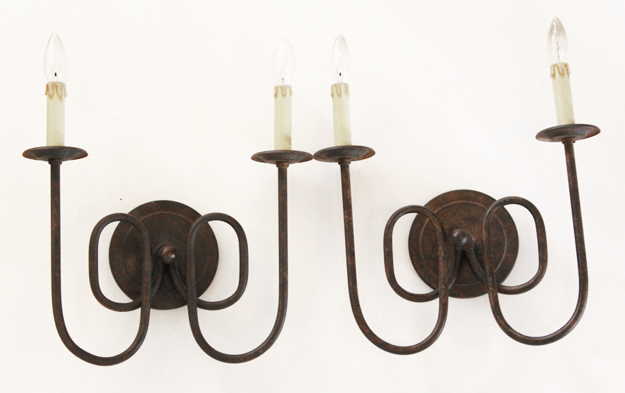 Set of Two Vintage Wrought Iron 2 arm Wall Sconces