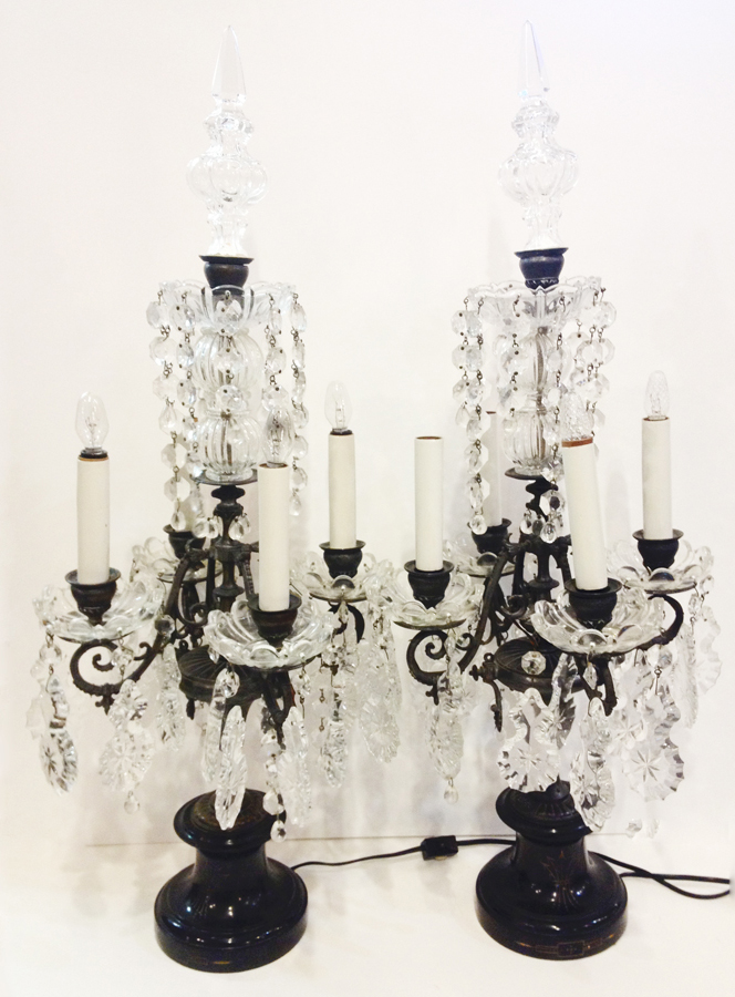 1850s Impressive French Pair Crystal Girandole Electric Candelabras-