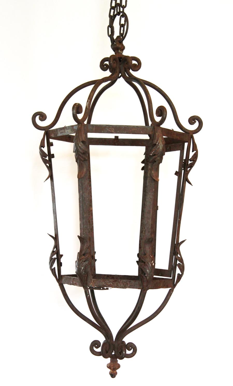Pair Wrought Iron Hanging Lanterns 1800s French