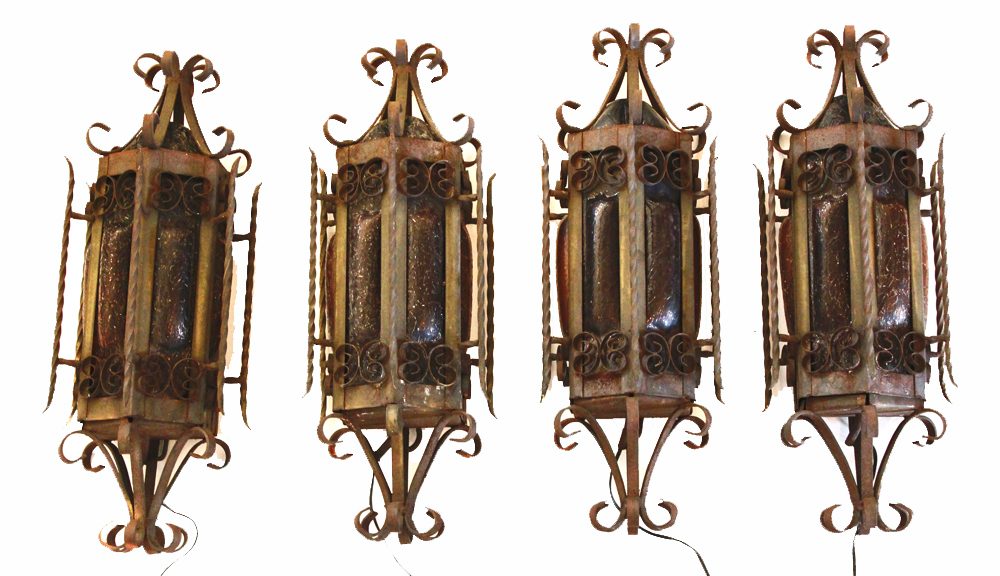 Set of Four Wrought Iron w/Glass Wall Sconces