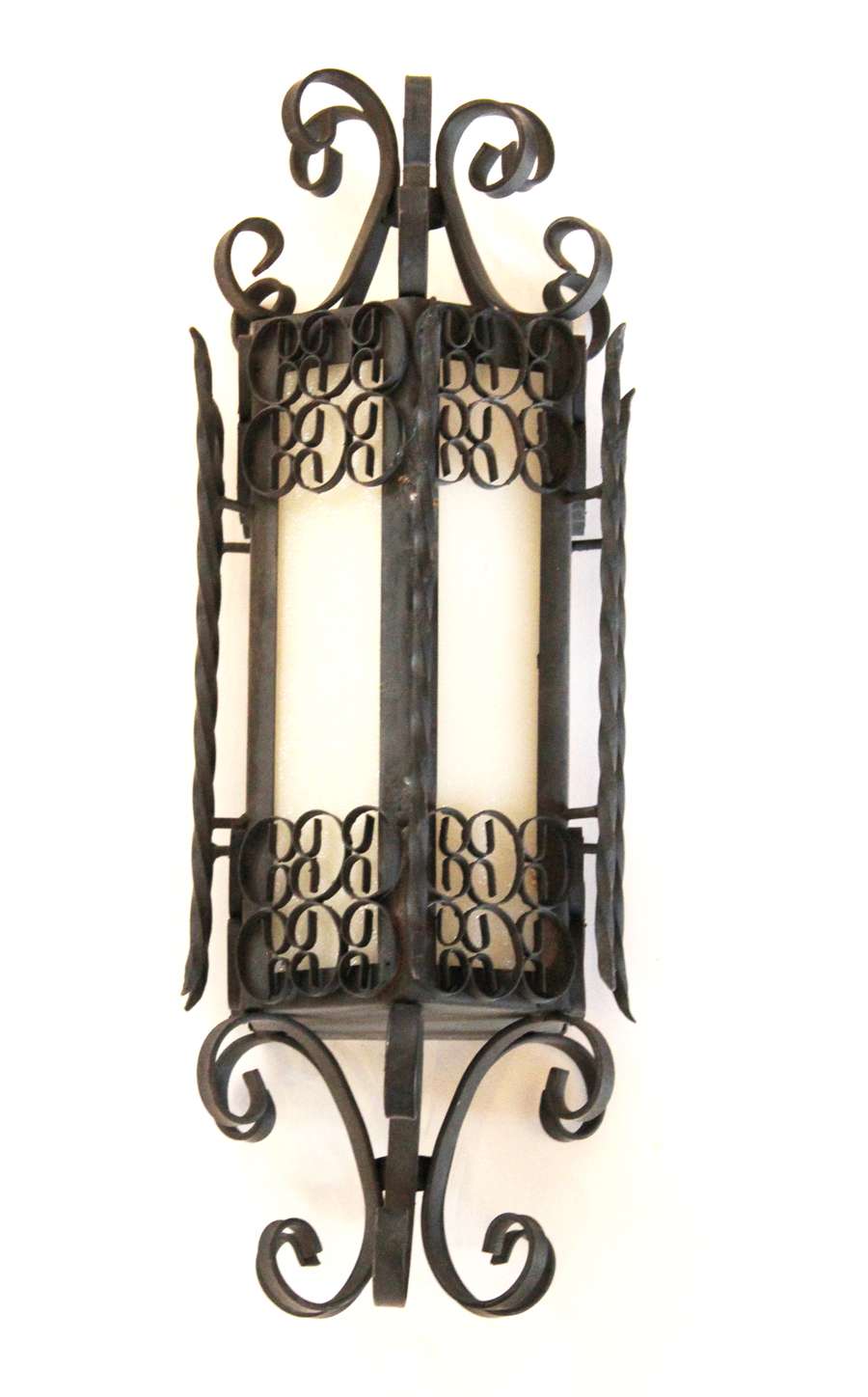 Antique Wrought Iron White Glass Wall Sconce