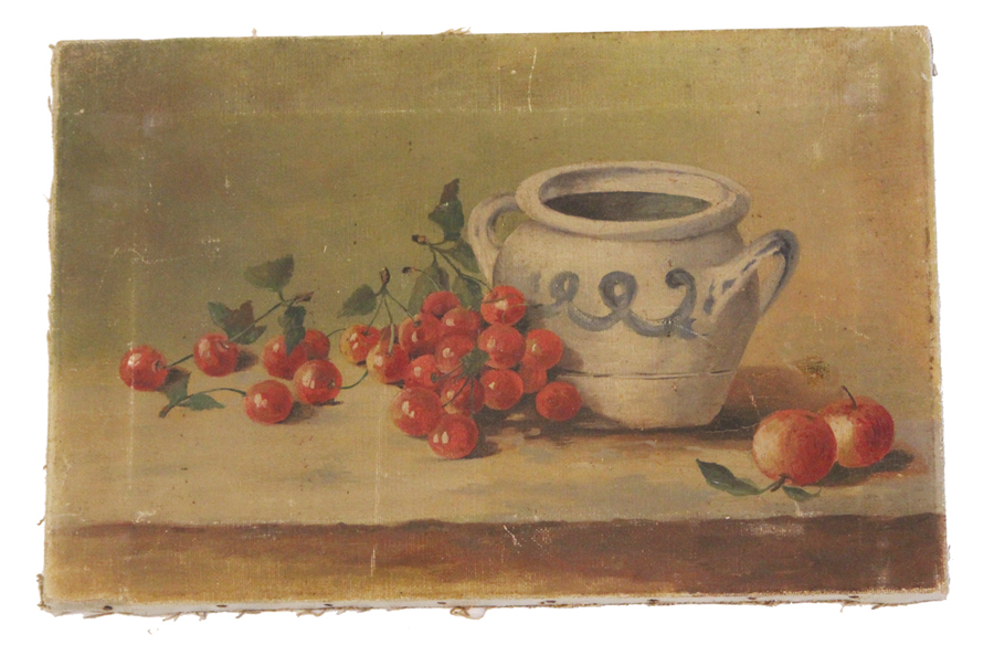 Antique Early 1900s Cherries Oil Painting Beautiful