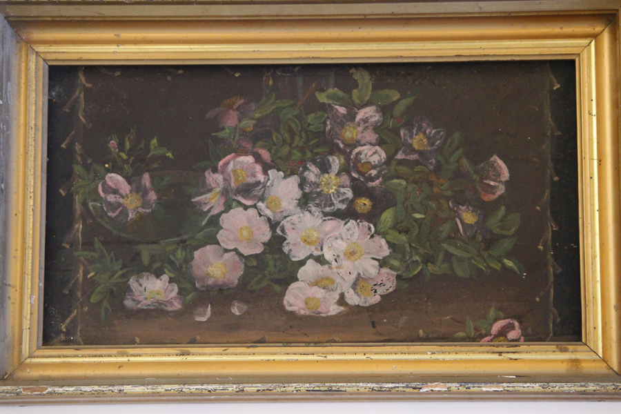 Victorian Wild Roses Late 1800s Painting on Metal Original Frame