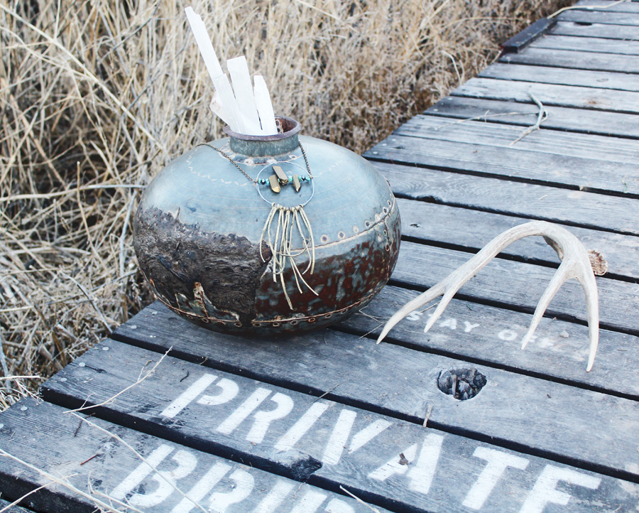 Antique Metal Orb Pot Gorgeous Patina & Metals
