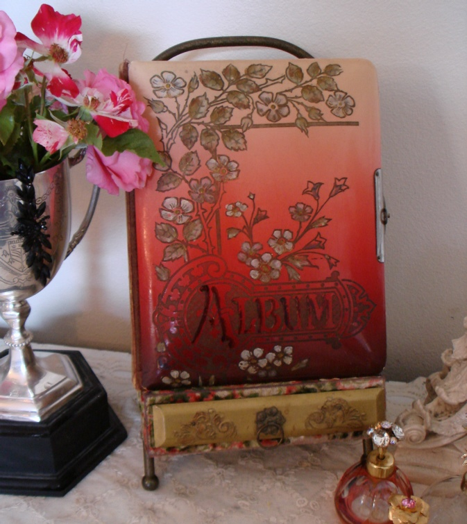 Antique Celluloid Album & Stand Beautiful & Rare-