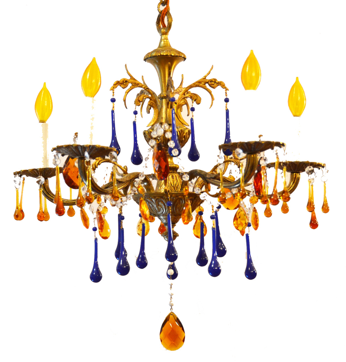 Rare Antique Cobalt & Amber Crystal Chandelier-