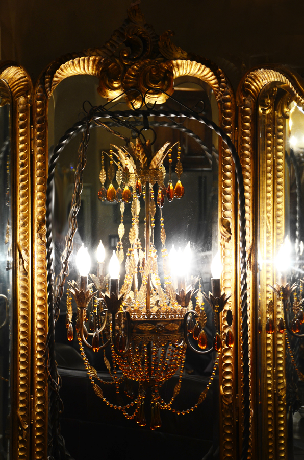 Amber & Tole Beaded French Empire Style Large Chandelier