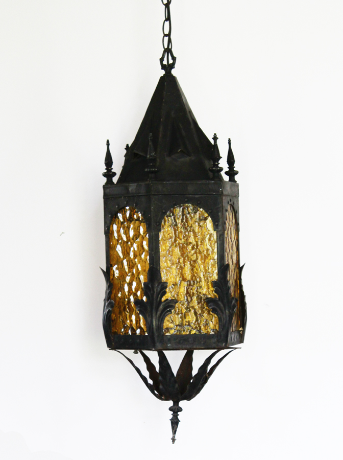 Antique Wrought Iron Amber Glass Lantern Pendant Light