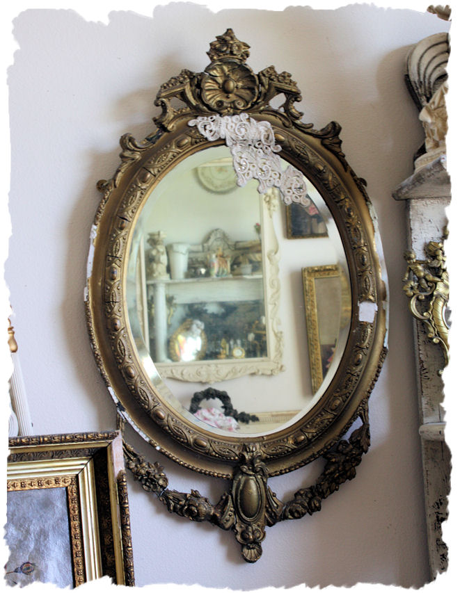 Antique Barbola Swags Mirror Chippy Anthropologie Style-