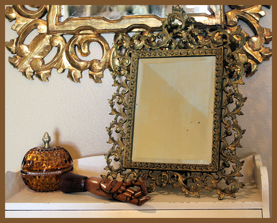 Antique 1900s Beveled & Brass Framed Easel Back Mirror-