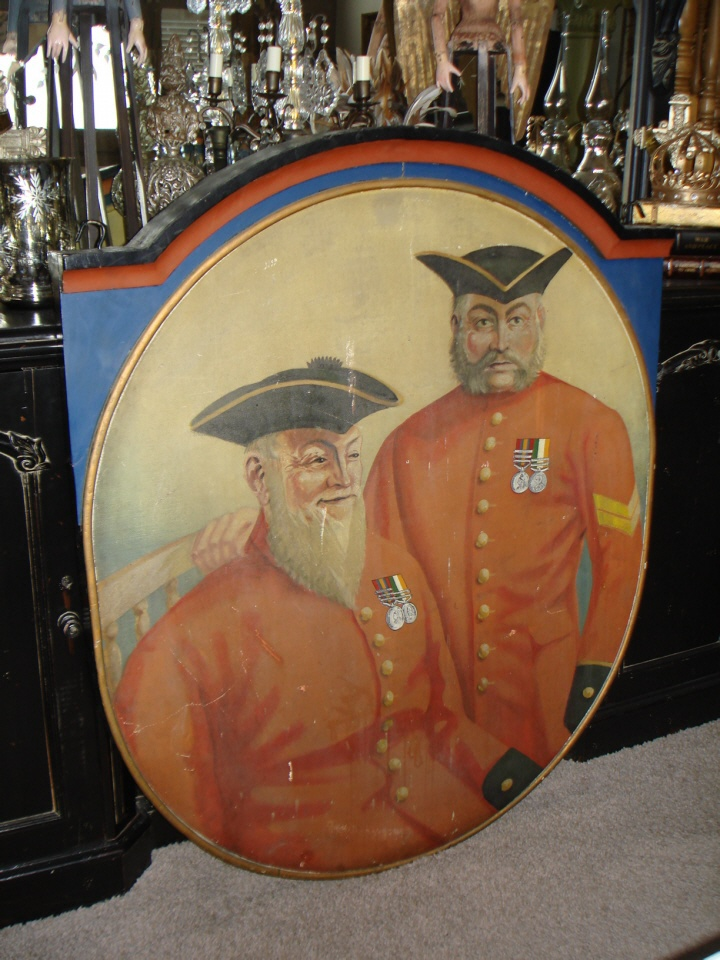 1800s Antique Old Pub Sign Military Painting Incredible