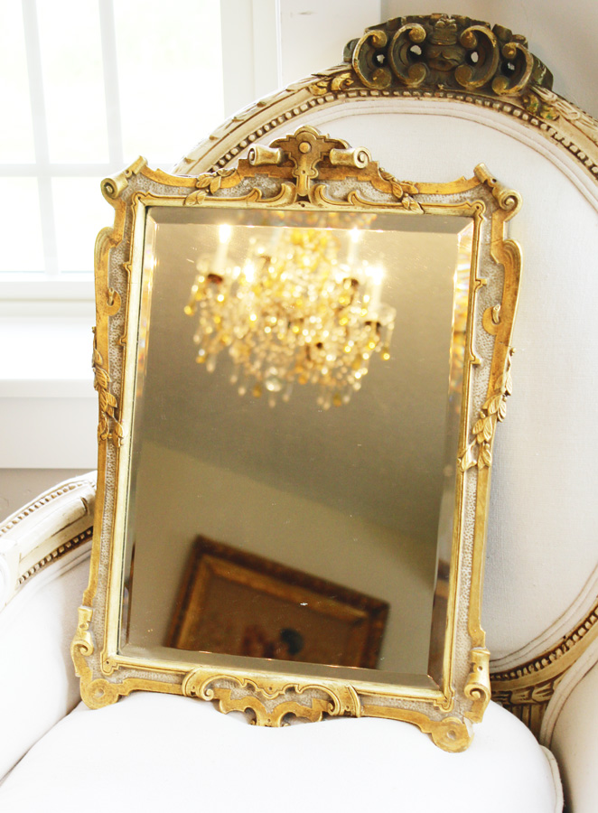 Antique Gilt Beveled Carved Mirror Gorgeous Details