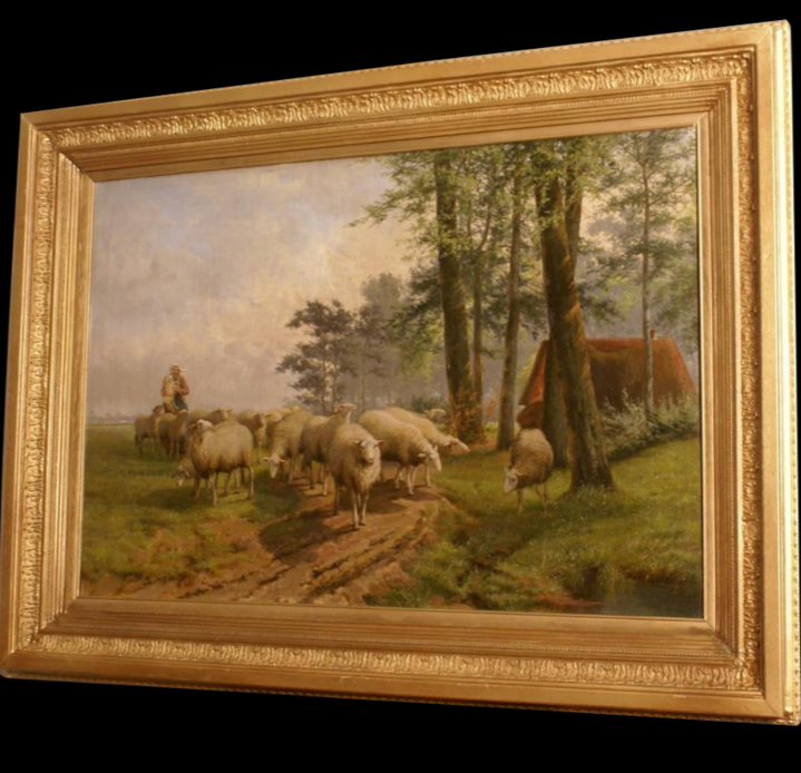1894 painting by JL Van leemputten( 1865-1948). A shepherdess with her Sheep flock in landscape. Museum quality!