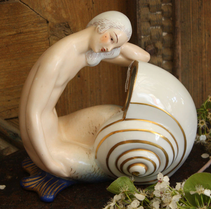 Rare Antique Porcelain Figural Mermaid Lamp-