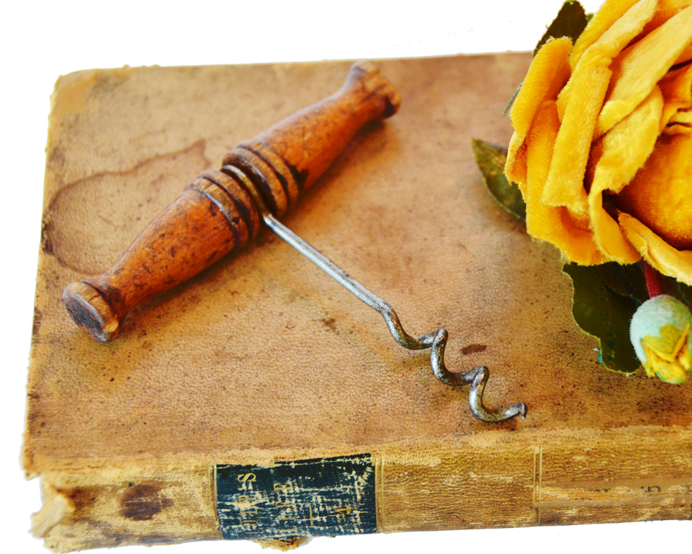 Antique Wood Cork Screw Barware-