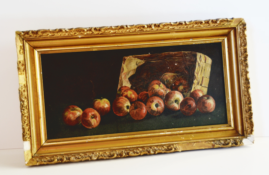 Antique Primitive Apple Bushel Oil Painting Original Frame-