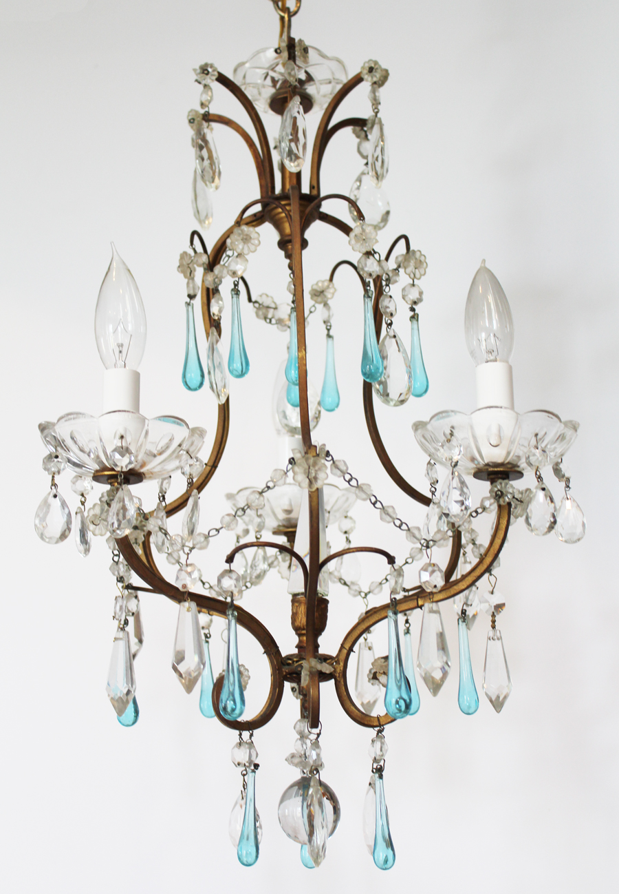 Antique French Bronze Petite Aqua Blue Drops Chandelier