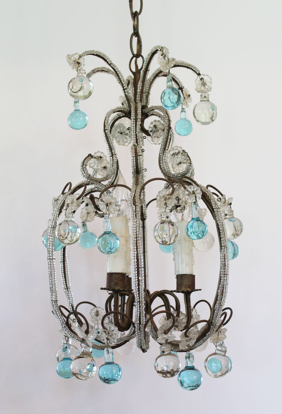 Antique Italian Rare Aqua Beaded Baubles Chandelier