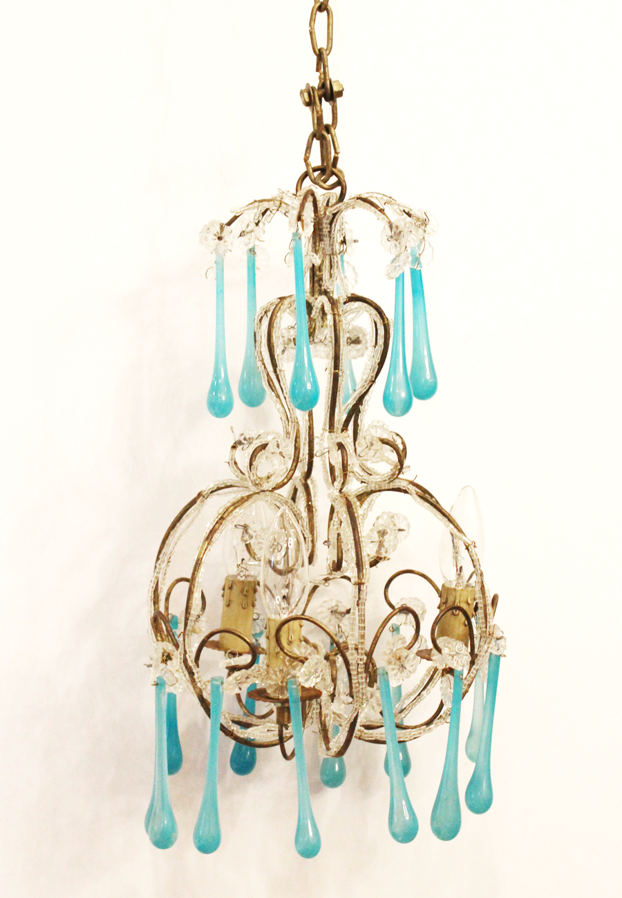 Rare Aqua Prisms Beaded Chandelier Gorgeous