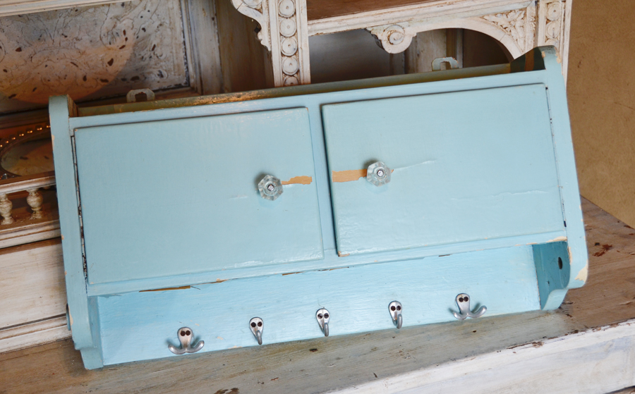 Antique Primitive French Cupboard Shelf Aqua Blue-