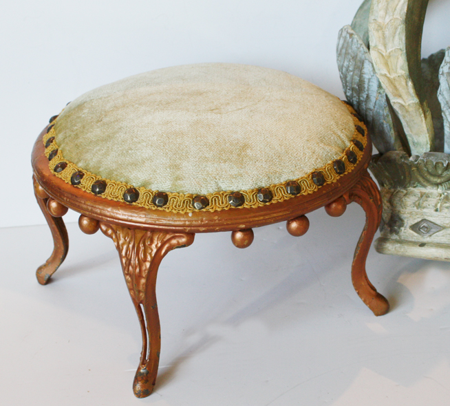 Pale Aqua Victorian Footstool/Plateau Antique-