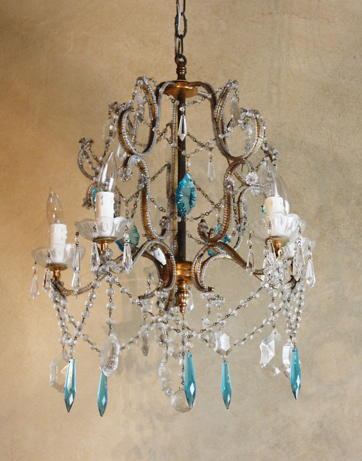 Antique 1920s Italian Beaded Chandelier Aqua Prisms