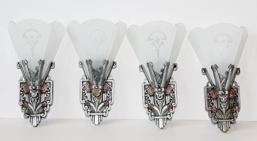 Art Deco Set of Four Silver & White Wall Sconces-