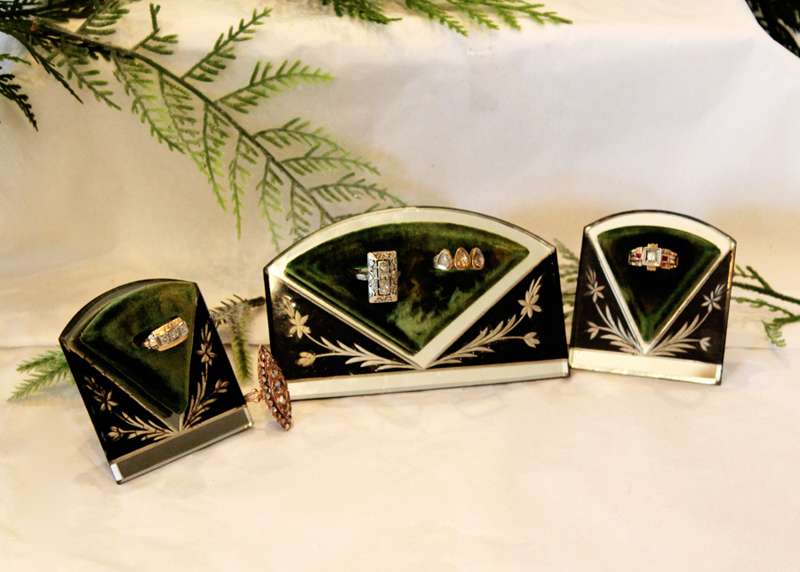 Set of Three Antique Art Deco Etched Mirror Ring Displays