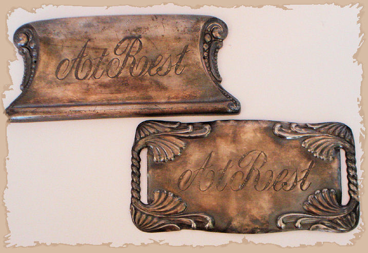 "Victorian Sterling Silver ""AT REST"" Funeral Plaques"