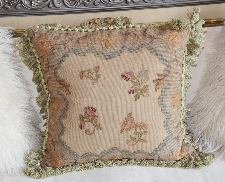 Exquisite French Aubusson Needlepoint Pillow Stunning-