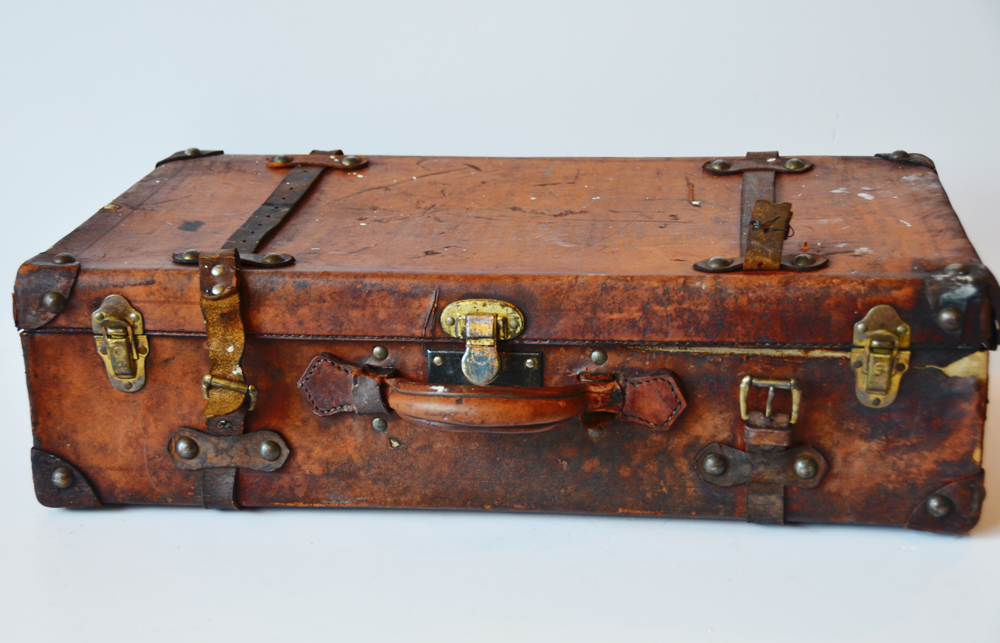 Antique Leather Suitcase Trunk Incredible Patina & Charm