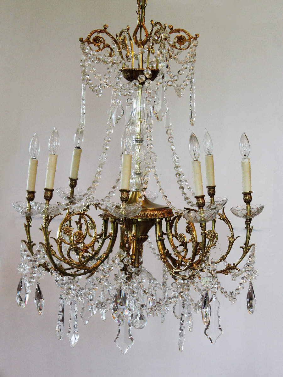 Antique Rare Baccarat Gilt Bronze Crystal Chandelier Showstopper
