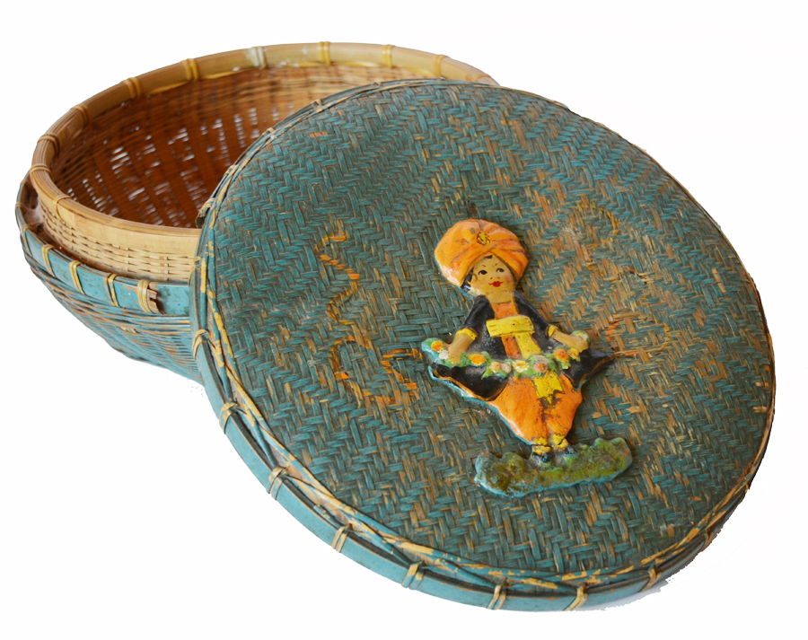 Antique Original Paint & Barbola Figural Lidded Basket-
