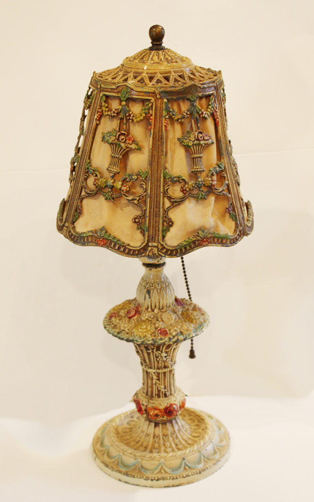 Barbola Lamp & Shade Antique Lamps Flowers & Ribbon Swags-