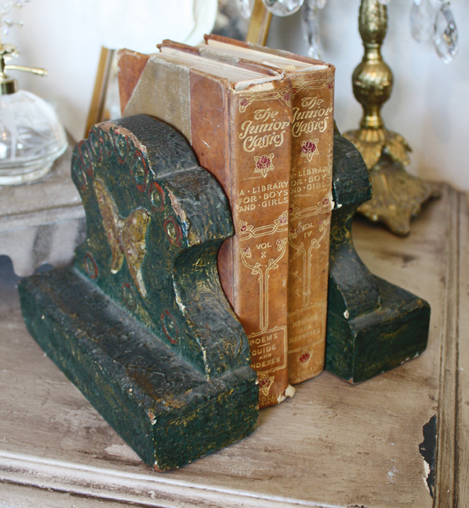 Rare Pair Butterfly Barbola Bookends Antique-