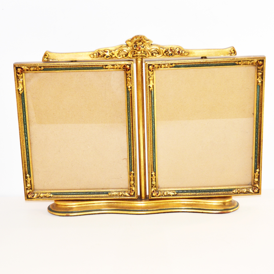 Antique Barbola Swivel Double Picture Frame