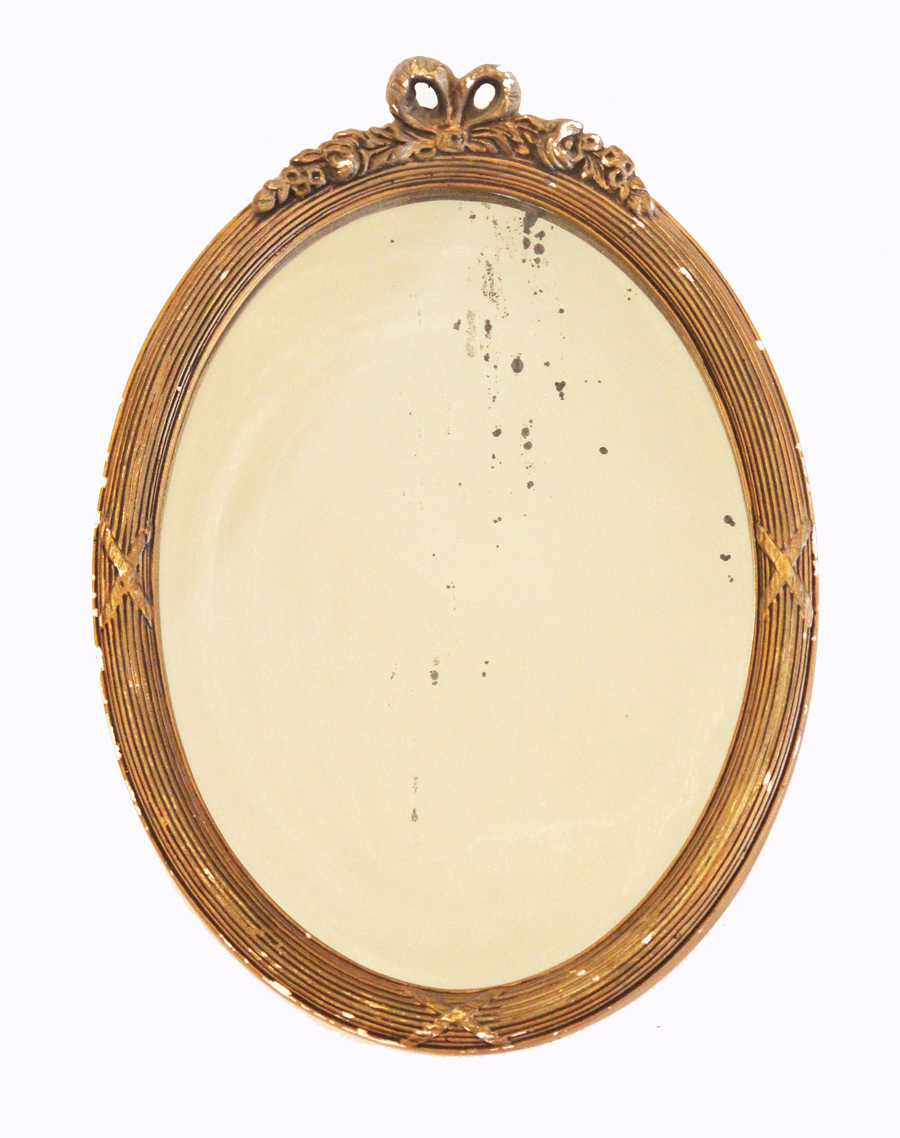 Antique Oval Barbola Mirror Muted Gold Gilt
