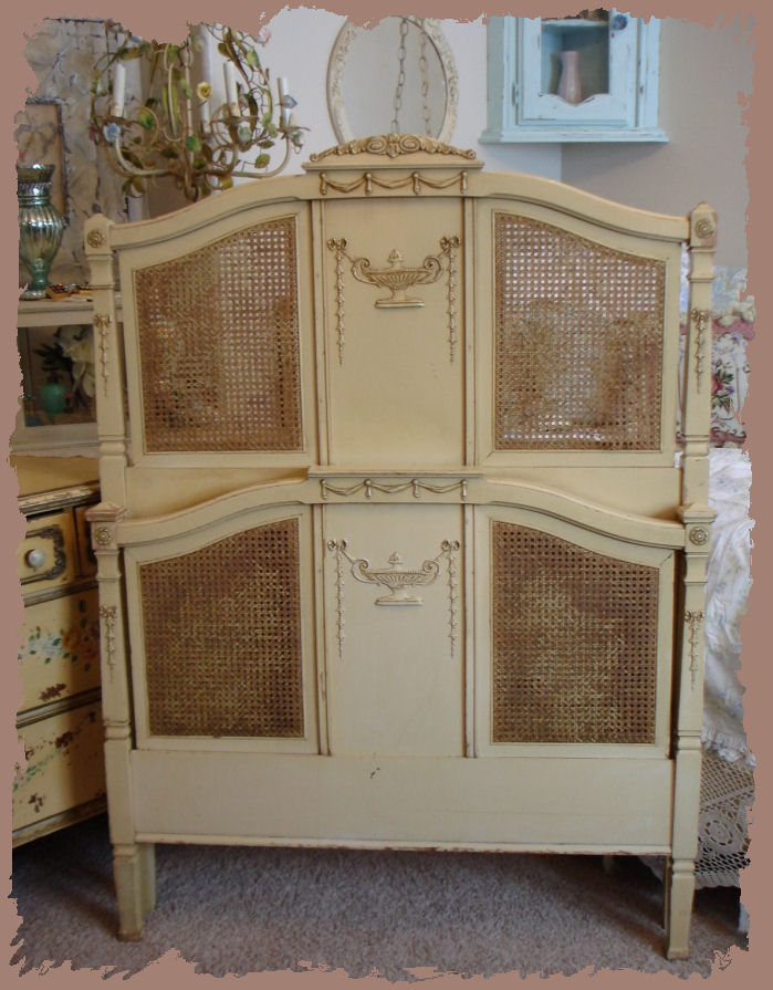 FRENCH CANE Antique BARBOLA TWIN BED Gorgeous Swags-