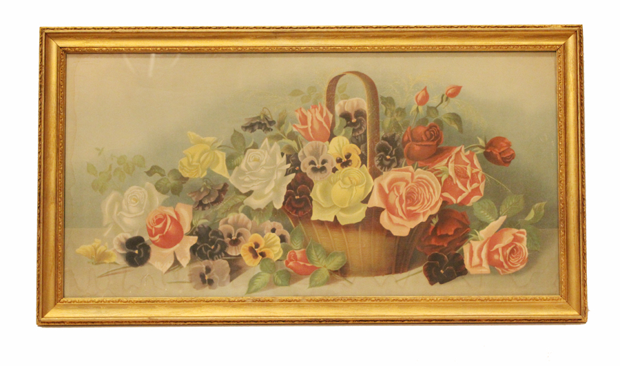 EXQUISITE Original Antique YARD LONG Print ROSES