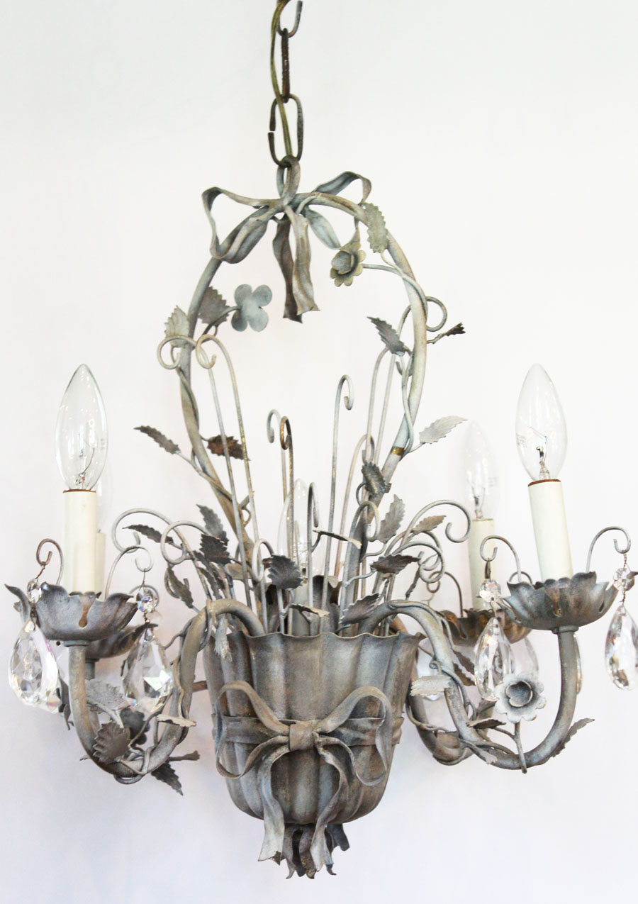 Antique Italian Tole Flower Basket Silver Gilt Chandelier