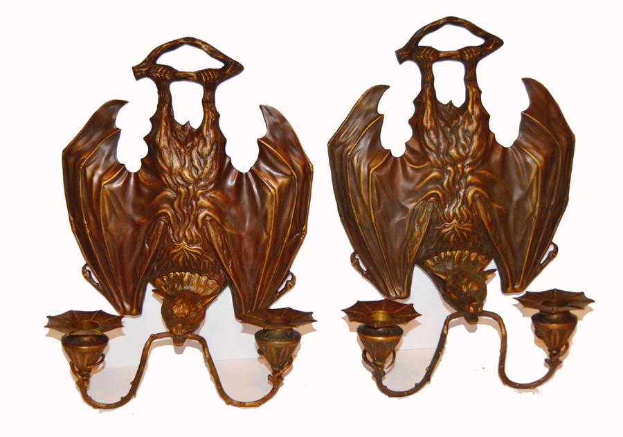 Pair Rare Cast Bronze Bat Wall Sconces-