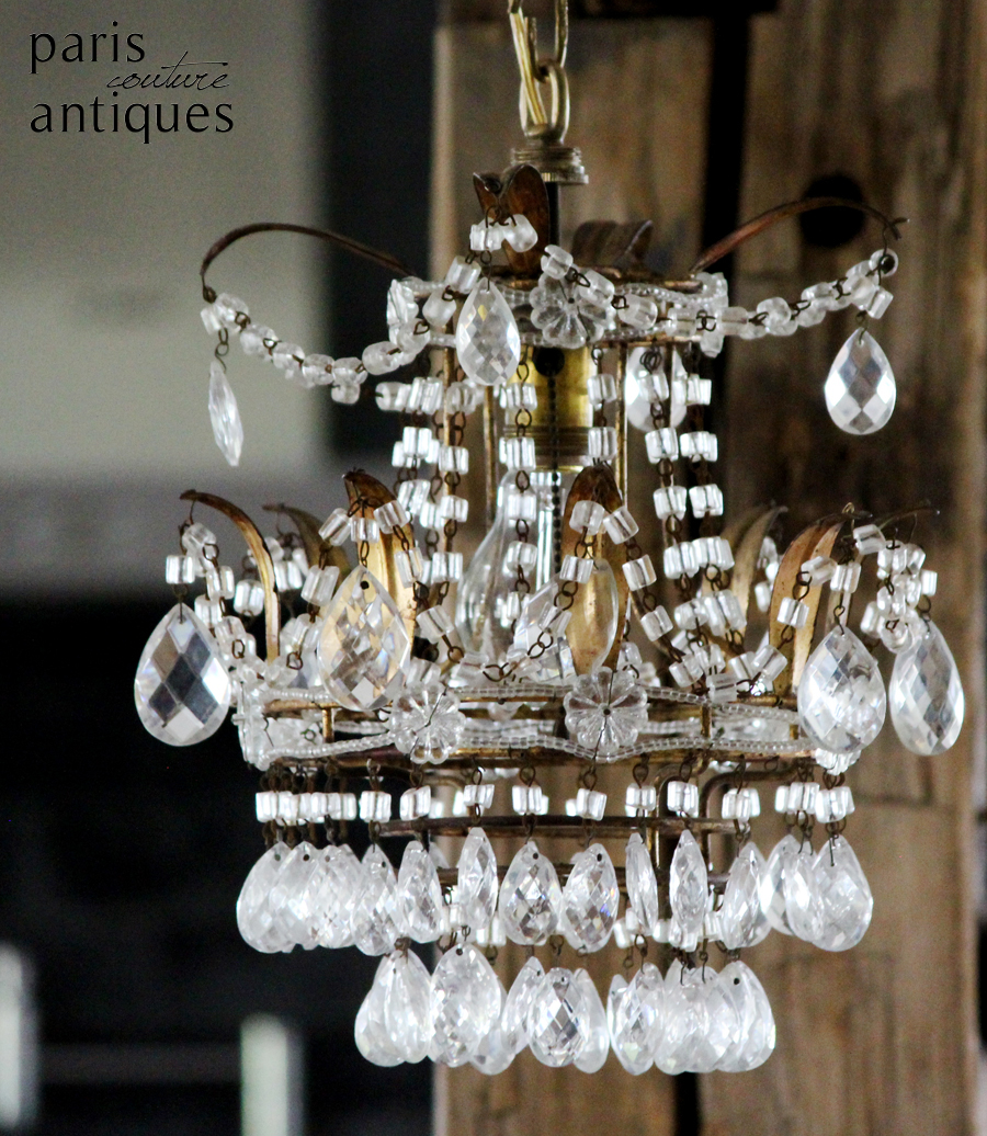 Antique Italian Beaded Crown Shaped Chandelier