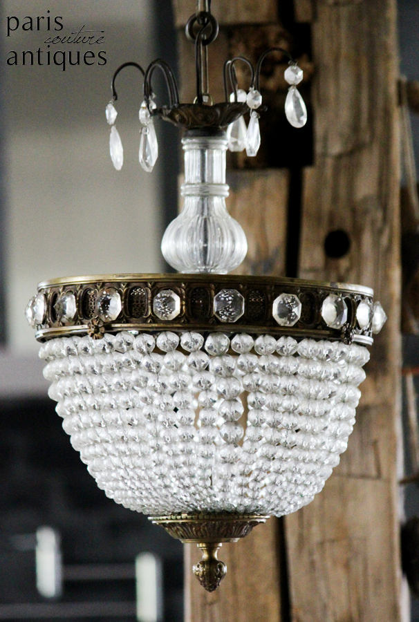 French Antique Beaded Dome Hanging Light Chandelier
