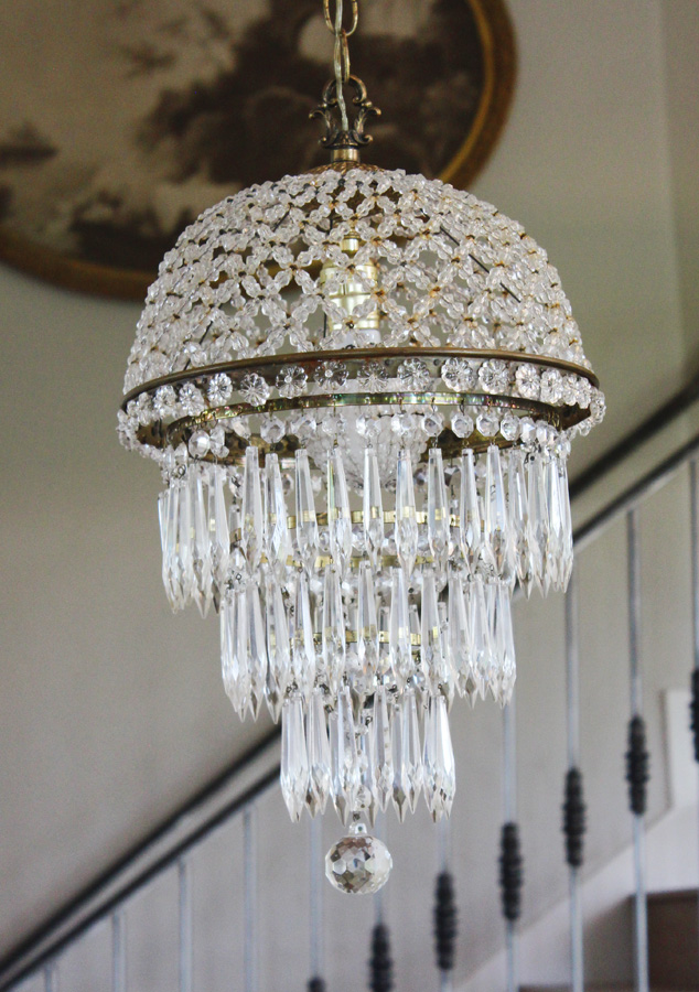 Antique Beaded Dome Wedding Cake Chandelier-antique, lighting, chandelier, wall sconces, beaded, French, vintage, shabby chic, beaded sconce, Italian, pendant, European, sconce