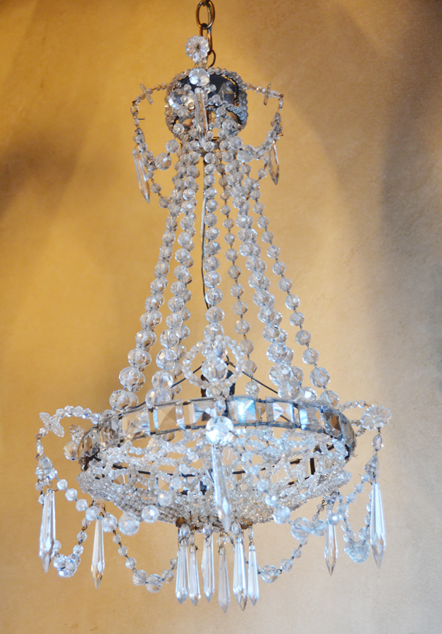 Incredible French Empire Beaded Basket Antique Chandelier