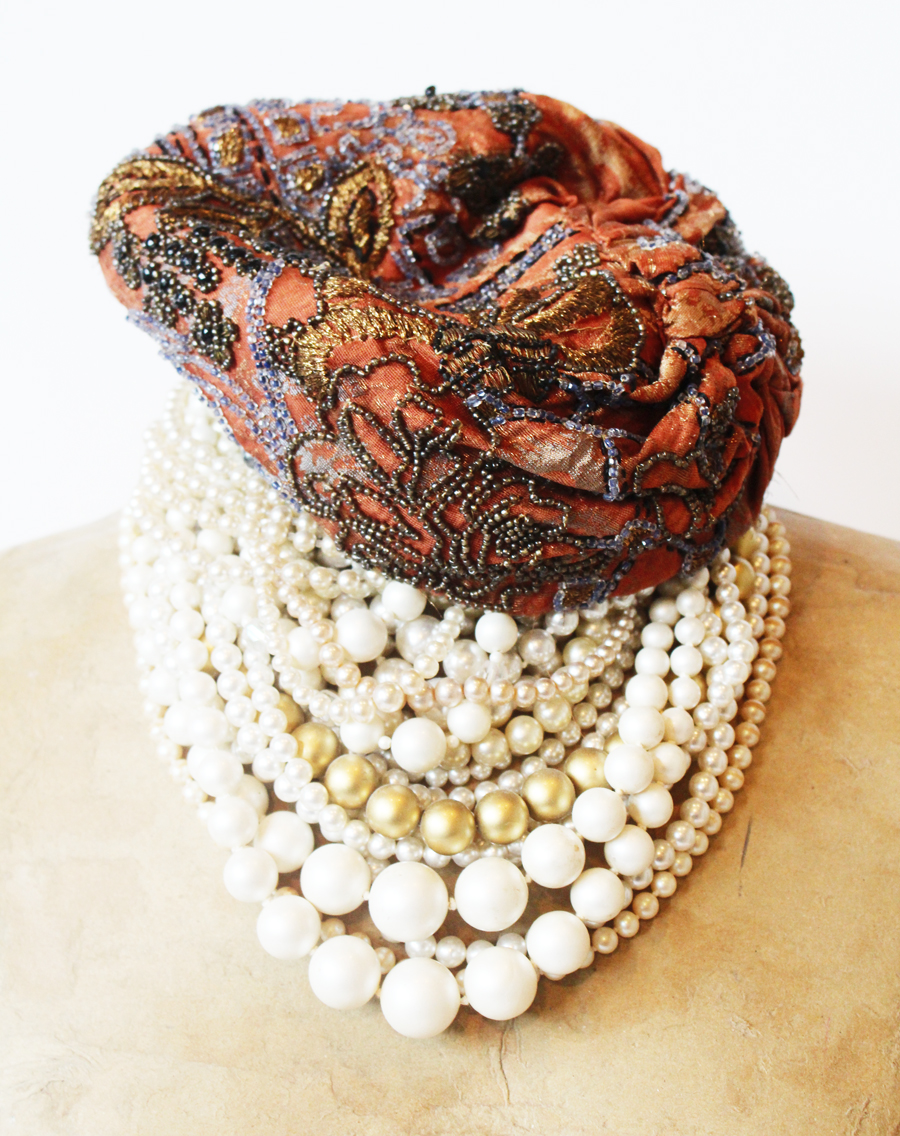 Antique Beaded Cloche French Flapper Hat-