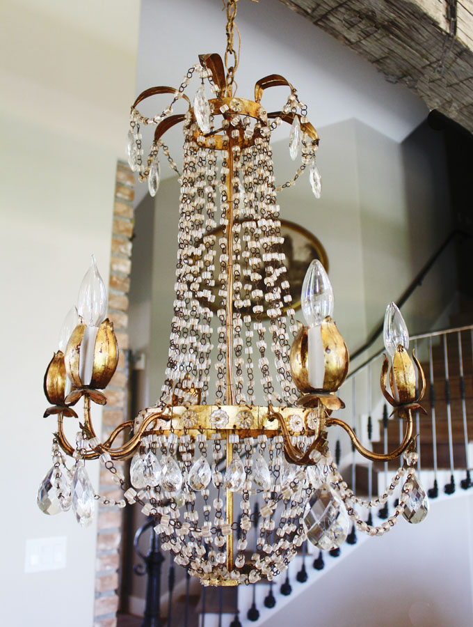 Antique Italian Tole Macaroni Beaded Empire Chandelier