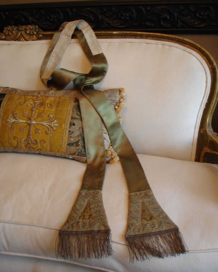 French Silk & Gold Boullion Silk Religious Stole Gorgeous-